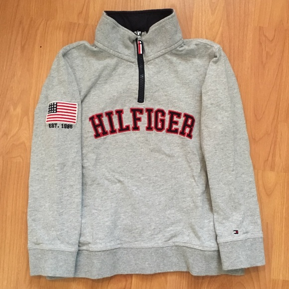 9569f4ca9 Tommy Hilfiger Shirts & Tops | Kids Spell Out Quarter Zip Sweater ...